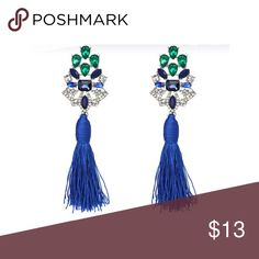 Blue tassel earrings Perfect to vamp up the leather jacket, ripped jeans and white t-shirt and heels outfit or with a gracious gown for the holidays Jewelry Earrings