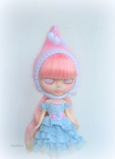 Blythe doll hat soft and fluffy knitted hat blythe by JujaShop