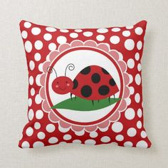 Shop Cute Ladybug On A Leaf - Girls Red Black Throw Pillow created by AdorableShirts. Black Throws, Black Throw Pillows, Custom Pillows, Girl Birthday, Nursery Decor, Toddler Girl, Create Your Own, Make It Yourself, Ladybugs
