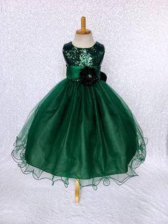 ad26b54bc630 Fall Winter Christmas Dress Hunter Green Sequin 2 Layer Sash Velvet Flower  Girl Wedding Birthday Pageant Graduation Party Recital Bridesmaid