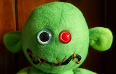 Green 15 plush zombie OOAK hand painted eyes by GhoulieDollies,