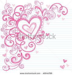 Hand-Drawn Valentines Day Hearts Sketchy Notebook Doodles on Lined Paper- Vector Illustration Design Elements - stock vector