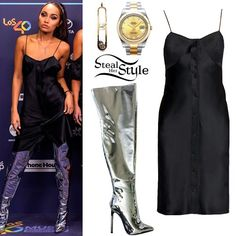 Leigh-Anne Pinnock arrived at Los 40 Music Awards in Barcelona wearing a Rag & Bone Lois Dress ($450.00), One of None Initial Pendant Necklace (Not available online), her Rolex Datejust II Watch ($13,295.00) and Kandee Meow Mirror Thight Boots ($393.27). You can find similar boots for less at Amazon ($67.95).