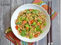 This super fast Spicy Hoisin Noodle Salad is cold, refreshing, and loaded with crunch. It's the perfect lunch or side for a hot summer day. // Sub soba noodles for spaghetti noodles, sub walnuts or almonds for the peanuts, and woohoo, it's gluten- and peanut- free!