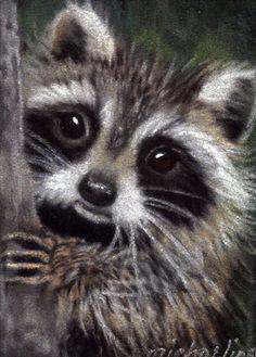 Friends raccoon wildlife art print by Michaeline 5x7 by WiseTails, $10.00