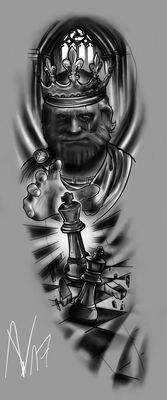 Fullsleeve Design in a King & Chess Setting made with iPad Pro Apple Pencil & Procreate in 2 hours and 33 minutes. FULLSLEEVE Design - The King is back Full Sleeve Tattoos, Tattoo Sleeve Designs, Cover Up Tattoos, Tattoo Drawings, Queen Tattoo, King Tattoos, Dope Tattoos, Tattoos For Guys, Tattoo Studio