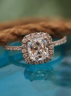 Rose gold cushion square cut with halo frame - beautiful!