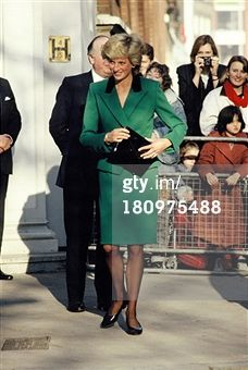 LONDON, UNITED KINGDOM - JANUARY 19: Diana, Princess of Wales, wears a green Victor Edelstein suit on January 19, 1989 in London, England. (Photo by Georges De Keerle/Getty Images)