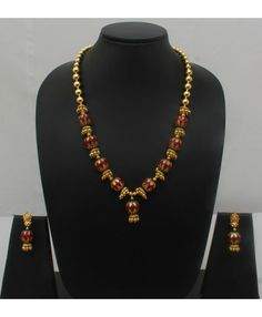 Maroon and green enamel balls Necklace set