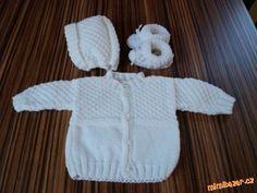 Pletená soupravička pro miminko Crochet Cardigan Pattern, Diy And Crafts, Onesies, Knitting, Sweaters, Kids, Clothes, Inspiration, Babys