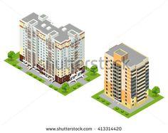 Town building,  city building,  buildings Isometric, town buildings vector, buildings illustration, Isometric Building. Picture. Image. Graphic. Art. Illustration. Object. Isometric Building Vector