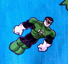 Green lartern fabric comic book style with blue by JeAdore on Etsy, $7.50