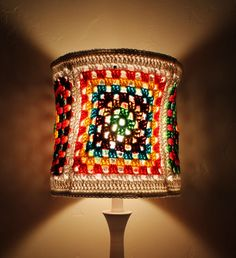 RESERVED Colorful Lampshade Granny Square Crochet Hippie Red Green Blue Brown Tones Unique Housewares Home decor lighting. $0.20, via Etsy.