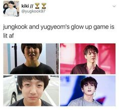 Best friends glow up together. Jungkook and Yugyeom ❤❤ Got7 Meme, Got7 Funny, Funny Kpop Memes, Bts Memes, It's Funny, Namjoon, Hoseok, Jhope, Jimin