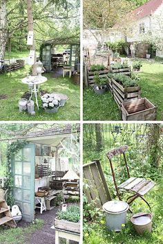 Qunst und Qrempel - My Garden Decor List Rustic Garden Decor, Rustic Gardens, Outdoor Gardens, Garden Decorations, Indoor Garden, Garden Cottage, Garden Beds, Pinterest Garden, Pinterest Diy