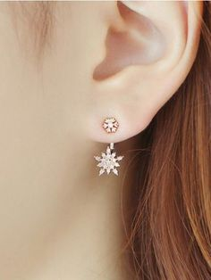 Sparkling Snowflake Golden Drop AD Earrings