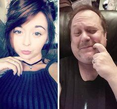 Pai imita selfies da filha e viraliza nas redes sociais