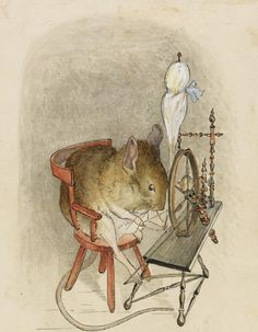 "Beatrix Potter, ""Mouse with a Spinning Wheel"". I do love a good Beatrix Potter mouse. Old Illustrations, Beatrix Potter Illustrations, Children's Book Illustration, Woodland Illustration, Beatrice Potter, Illustrator, Peter Rabbit And Friends, Motifs Animal, Spinning Yarn"