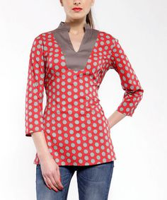 Take a look at this Red & Gray Polka Dot V-Neck Top by Almatrichi on #zulily today!