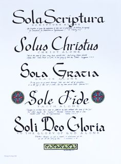 The 5 Solas: important to Lutheran Christianity Latin Tattoo, Reformation Day, 5 Solas, Sola Scriptura, Bible Doodling, Soli Deo Gloria, Reformed Theology, Lutheran, Meaningful Words
