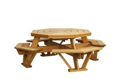 Amish Pine Wood Octagon Picnic Table with Benches Amish Grove Collection This Octagon Picnic Table with Benches offers plenty of seating space for a family of eight! The photo shows our large pine wood table, guaranteed to satisfy. Wooden Picnic Tables, Outdoor Picnic Tables, Outdoor Dining, Dining Table, Wood Table, Patio Tables, Octagon Picnic Table Plans, Octagon Table, Outdoor Tea Parties