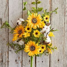 "RAZ Sunflower Cotton Spray Yellow, Green, White Made of Polyester Measures 24"" RAZ Farmers Market Collection"