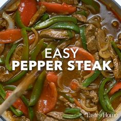 Easy Pepper Steak We live on the eastern edge of the Sand Hills here in Nebraska where most folks are ranchers. This popular pepper steak recipe is tasty as well as colorful. The post Easy Pepper Steak appeared first on Rezepte. Stir Fry Recipes, Crockpot Recipes, Cooking Recipes, Cooking Pasta, Healthy Nutrition, Steak Stirfry Recipes, Healthy Steak Recipes, Beef Tip Recipes, Cooking Icon