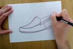 Aprende de una manera muy sencilla a realizar el boceto de un diseño  mocasín de caballero con un estilo deportivo. Comienza dibujando las líneas de referencia de la horma para continuar diseñando lo que se denomina el corte del zapato. Un modelo clásico que nunca pasa de moda utilizado sobre todo en la temporada Primavera/Verano.