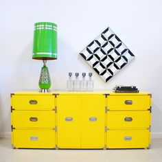 would mom let me paint her dining room set?   70s Credenza Yellow now featured on Fab