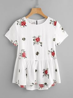 Shop Flower Embroidered Keyhole Back Smock Top online. SheIn offers Flower Embroidered Keyhole Back Smock Top & more to fit your fashionable needs.