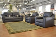 Living : AVOLA 3 Leather Sofa + 2 Armchairs All Reclining