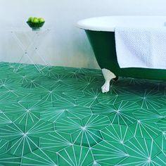 Green with #tileenvy. Dandelion in lawn/milk from Claesson Koivisto Rune @claessonkoivistorune #bath #bathroom #bathroomdesign #clawfoot #clawfoottub #tile #tileaddiction #tiles #floor #flooring #flooringdesign #dandelion #designer #interior #interiors #interiordesign #thebathproject by bfreeathome