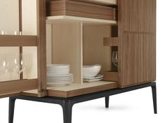 Ceccotti, made in Italy: Never Full Low sideboard, project by Roberto Lazzeroni., structure in solid American walnut and ply-wood veneered American walnut, internal in maple wood.