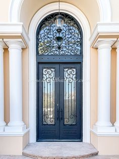 Iron front doors can bring stately style to your home! 💡 About this design: Elite Double Entry Iron Door w/Transom ☎️️ 877-205-9418 🌐 www.iwantthatdoor.com Iron Front Door, Front Doors, Wrought Iron Doors, Design, Home Decor, Style, Entry Doors, Swag, Decoration Home
