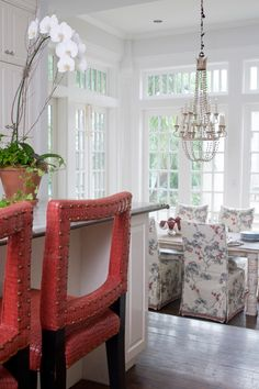 Chinoiserie Chic: Melissa Rufty of MMR Interiors Decor, Dining Chair Slipcovers, Sunken Living Room, Interior, Dinning Chairs, House Interior, Rustic Wood Floors, Eclectic Dining Room, Interior Design