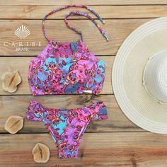 Biquíni Cropped Floral Pink Drapeada - Caribe Brasil | Beachwear