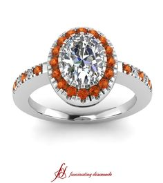 Impressive Halo Ring ||  Oval Shaped Diamond Halo Ring With Orange Sapphire In 14k White Gold