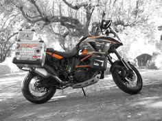 The #KTM 1190 Adventure belonging to Ukrainian overlander Anna Grechishkina who is currently running on the ContiTrailAttack 2 dual sport tyre on her round the world trip.