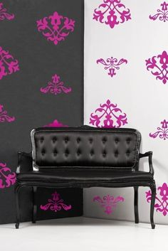 $42 Vinyl Wall Decals, Shabby Floral Flock Damask- 12 graphics , sticker, wallpaper, item 10006