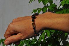 ematite e occhio di tigre cristallo braccialetto bracciale in ematite ed occhio di tigre