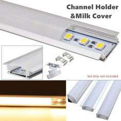 """The LED U V YW -Shaped Aluminum Channel System provides a professional finish and a modern aesthetic to accommodate a wide range of LED strip lighting projects. The cover softens the 'spottiness' of LED strip lights, rendering a light that is not only more consistent but pleasing (referred to as a """"light bar"""" or """"neon effect).   eBay!"""