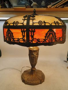 Antique Royal Table Lamp 12 Panel RARE Red Curved Slag Glass Signed Old Original | eBay