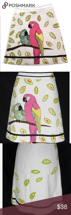 """Anthropologie EDME & ESYLLTE IN THE BOUGHS PARROT Description: fun knee length, cotton skirt from Edme & Esyllte Waist: 26"""" Hips: 36"""" Cotton Blend Zipper Closure. Pre-owned no Flaws Anthropologie Skirts A-Line or Full"""