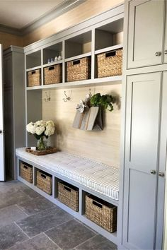mudroom ideas - farmhouse mudroom ideas and country style entryway mud rooms (love the mudroom paint colors!) ideas entryway mud rooms Mudroom Ideas - DIY Rustic Farmhouse Mudroom Decor, Storage and Mud Room Designs We Love - Clever DIY Ideas Cubby Storage, Storage Baskets, Mudroom Storage Ideas, Entryway Storage Cabinet, Ideas For Storage, Garage Shoe Storage, Farmhouse Storage Cabinets, Garage Cupboards, Entryway Coat Hooks