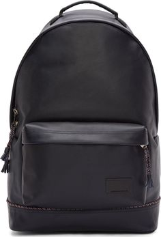 Krisvanassche - Navy Pebbled Leather Tassel Trim Backpack