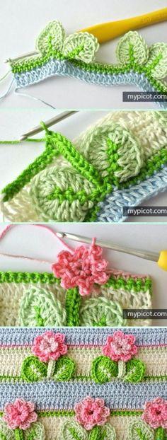 Crochet Edging And Borders Crochet Flower Stitch with Leaf Free Pattern - Crochet Flower Stitch Free Patterns - Crochet Puff Flower, Crochet Flower Patterns, Crochet Stitches Patterns, Love Crochet, Crochet Flowers, Stitch Patterns, Knitting Patterns, Leaf Patterns, Knitting Stitches