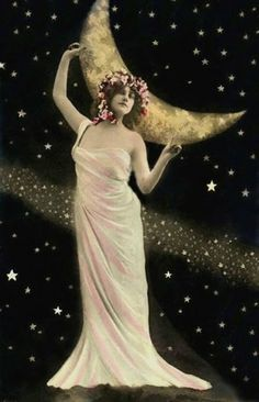 True to the Moon! Edwardian Hand Tinted Postcard