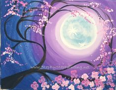 Cherry Blossom Painting - Acrylic - Step By Step Painting For Beginners Canvas Painting Tutorials, Easy Canvas Painting, Moon Painting, Acrylic Canvas, Diy Canvas, Canvas Paintings, Diy Painting, Painting Furniture, Painting Abstract