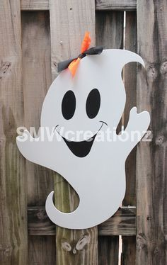 Ghost Door Hanger- Halloween Door Hanger/ Wood Cut Out on Etsy, $35.00