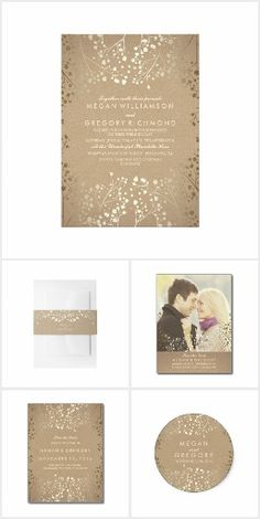 Baby's Breath Foil Wedding Collection. This rustic country wedding set / stationary / suite may include: Wedding invitation cards, wedding envelopes, wedding RSVP Cards, wedding address labels, save the dates, wedding programs, wedding thank you cards, rehearsal dinners, stamps and more matching wedding products. Click image to see all available matching items.